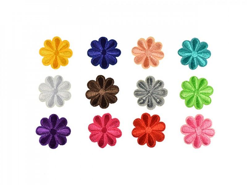 bloemen met 8 blaadjes applicaties set 12 kleuren