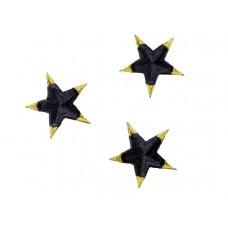 applicatie ster marine blauw met goud 5cm (1 stuk)
