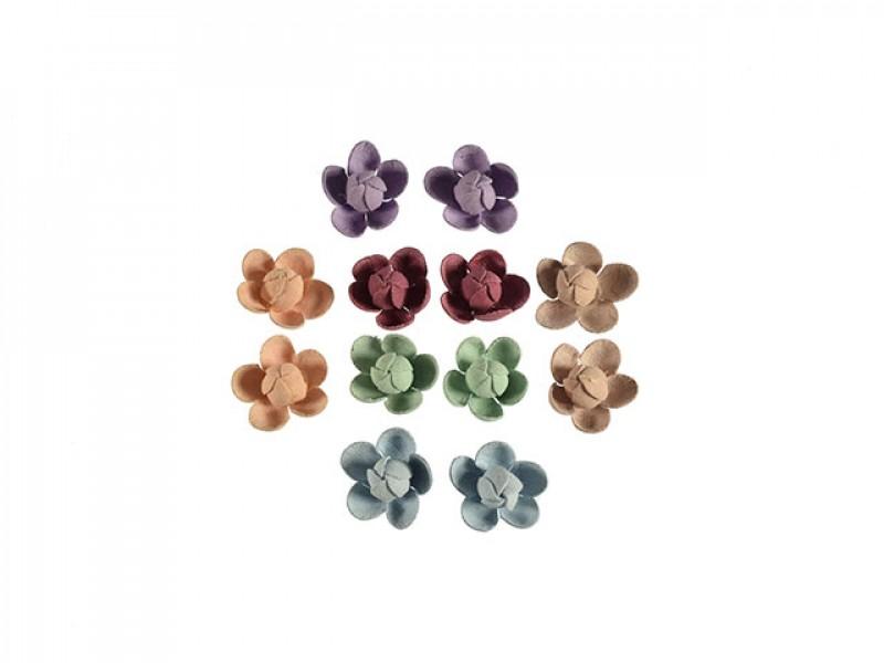 3d bloemen set klein 6 kleuren 12 stuks bolle vorm