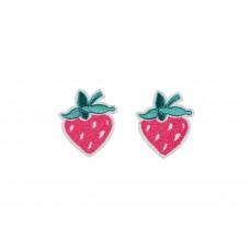 aardbei patch roze 4 x 4,5 cm 2 stuks