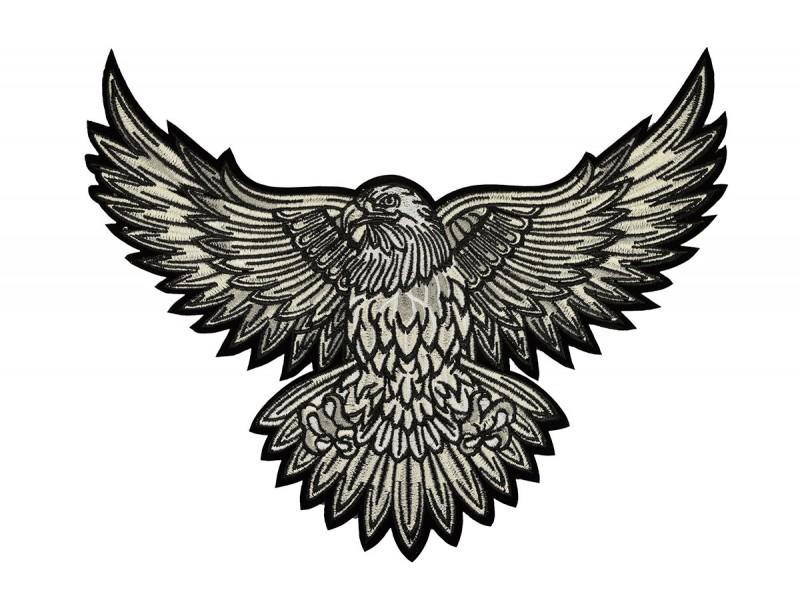 adelaar patch XL zwart wit 30x25 cm