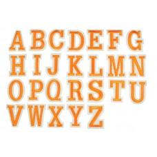 applicatie alfabet letter oranje wit