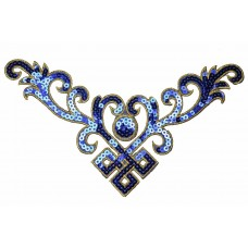 applicatie blauw decoratie pailletten 23 x 12cm