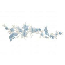 applicatie blauwe bloemen en vlinders