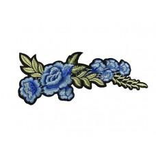 applicatie blauwe bloemen groen blad groot