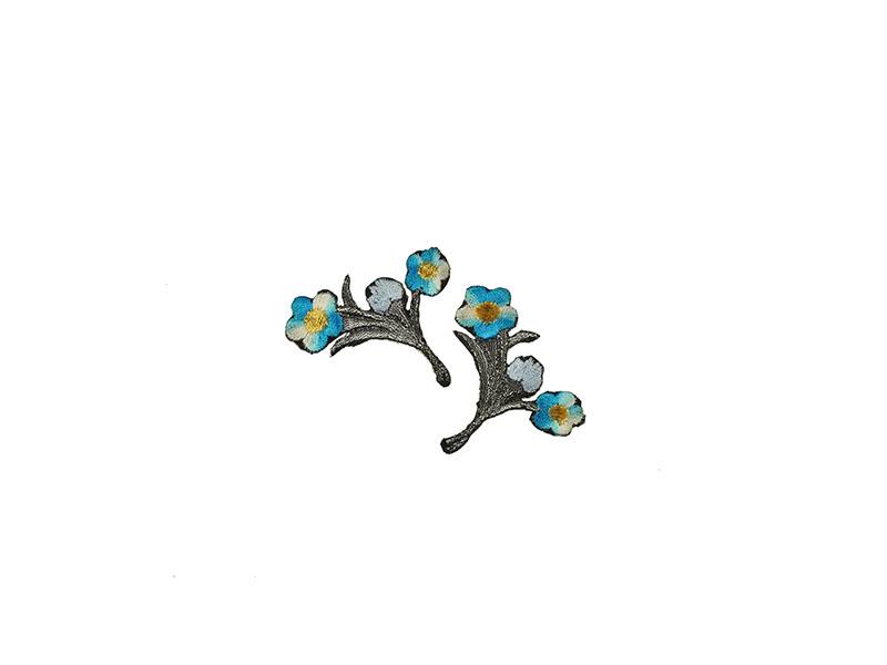 applicatie bloemen op tak turquoise zilver 2 stuks