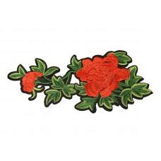 applicatie bloemen rood met groen