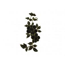 applicatie bloemen zwart met goud middelgroot