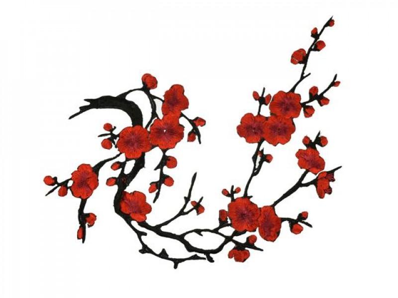 applicatie bloesemtak rood zwart groot