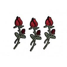 applicatie drie rode tulpen donker groene steel
