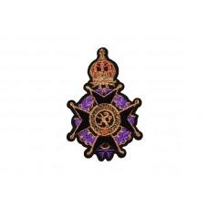 applicatie fluweel embleem paars zwart met gouden kroon