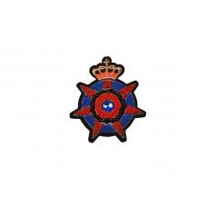 applicatie fluweel embleem rood blauw met gouden kroon