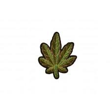 applicatie fluweel groen blad met goud draad