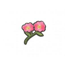 applicatie geborduurde bloemen groen roze
