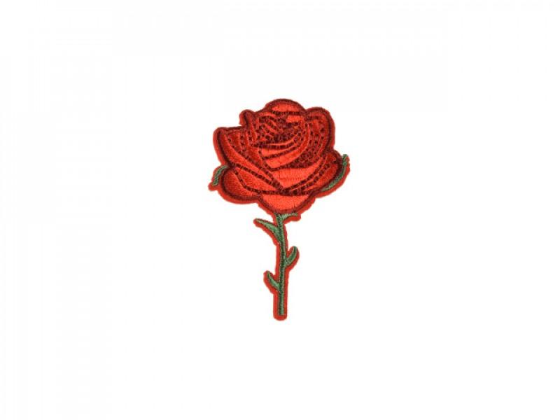 applicatie geborduurde rode bloem