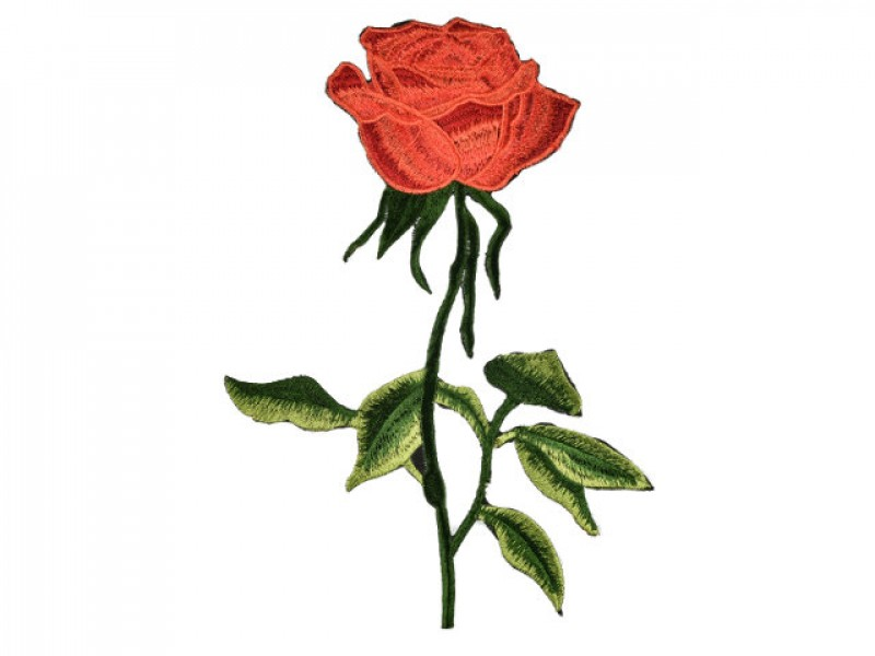 applicatie geborduurde rode roos groot