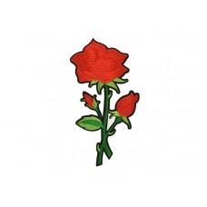 applicatie geborduurde rode roos op tak middelgroot