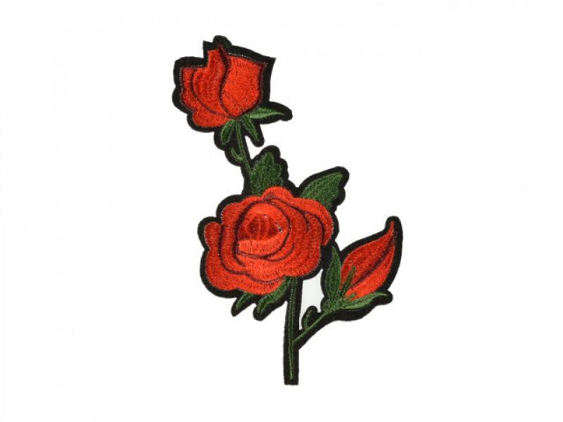 applicatie geborduurde rode rozen middelgroot