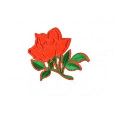 applicatie geborduurde roos met groen blad