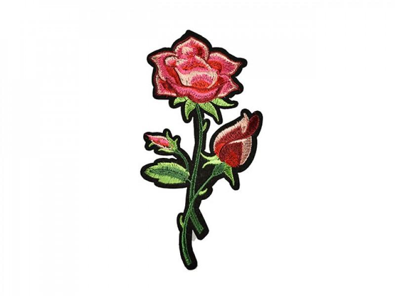 applicatie geborduurde roze roos middelgroot