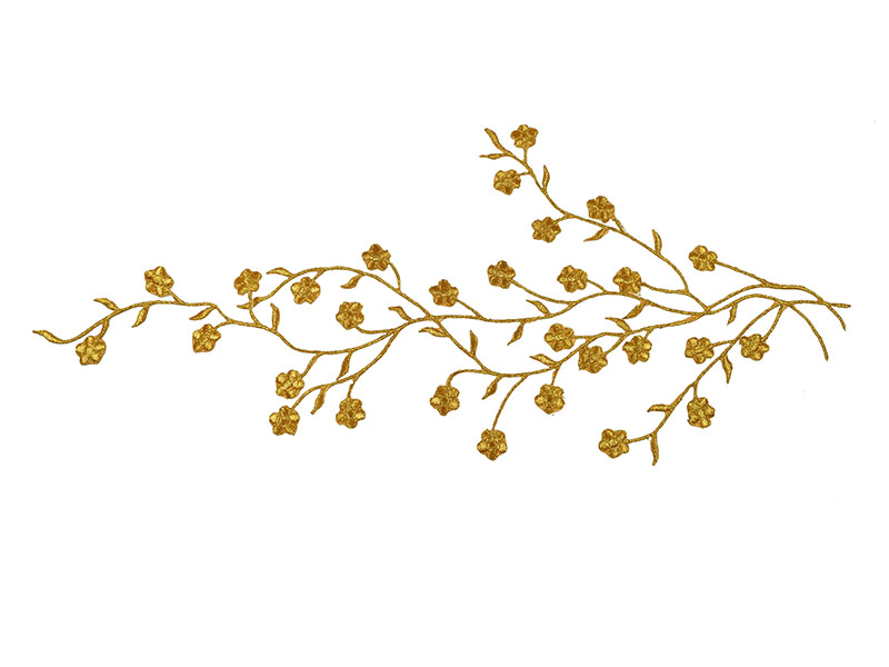 Applicatie goud bloesem op tak extra large (42 x 16 cm)
