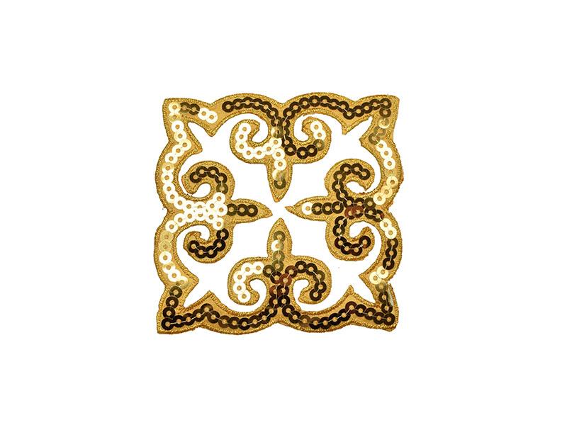 applicatie goud decoratie pailletten 9 x 9 cm