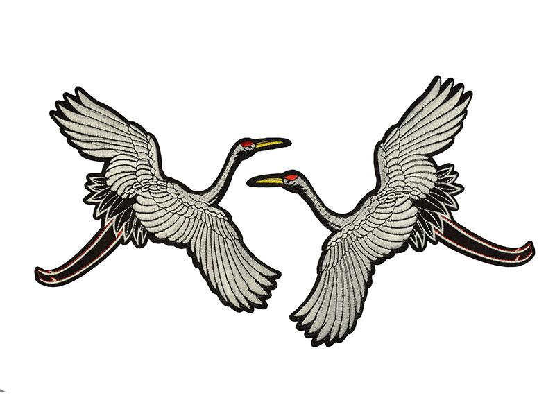 applicatie grote kraanvogel set wit