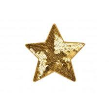 applicatie grote ster goud pailletten 15,5 cm
