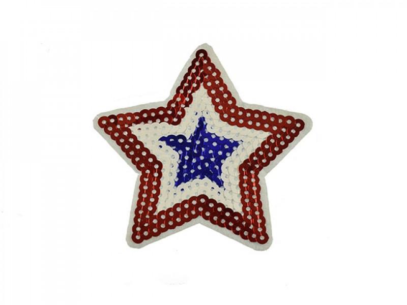 applicatie grote ster pailletten rood wit blauw