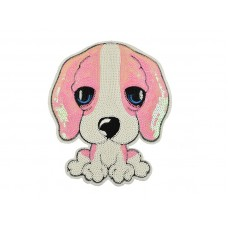 applicatie hond pailletten XL 18x15 cm