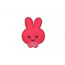 applicatie konijntje fuchsia met strik