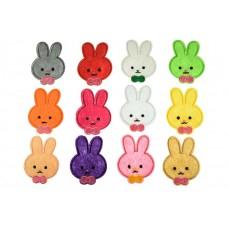 applicatie konijntje met roze strik set van 12