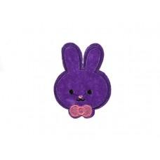 applicatie konijntje paars met strik