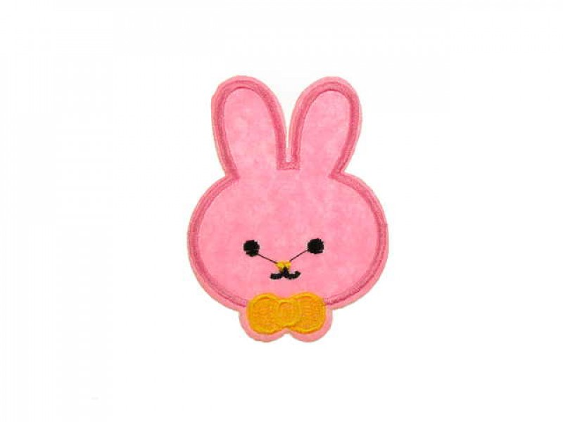 applicatie konijntje roze met strik