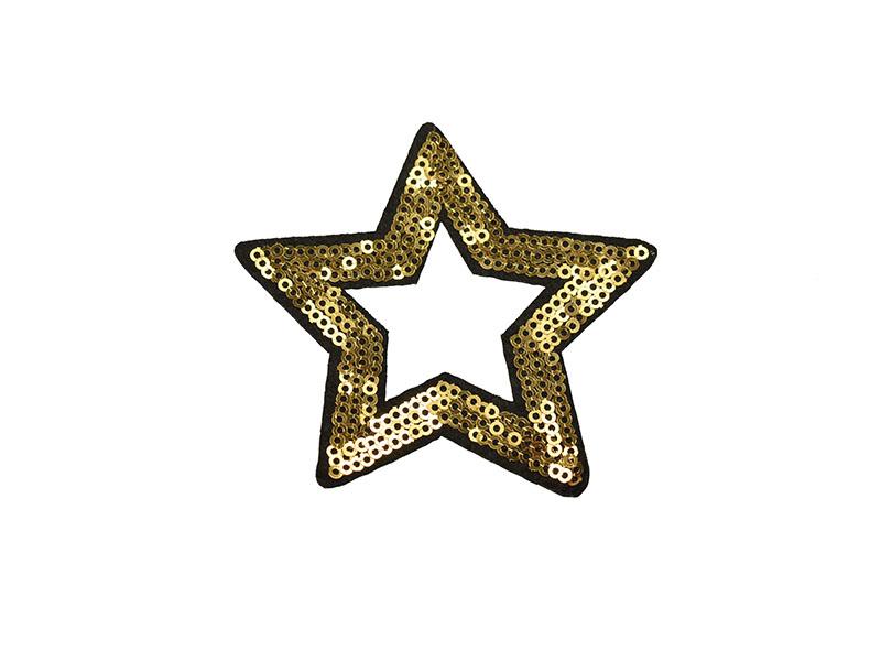 applicatie open ster goud pailletten 8,5 cm