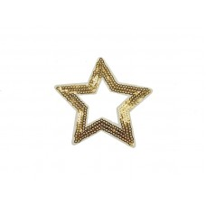 applicatie open ster goud wit pailletten 8,5 cm