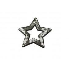 applicatie open ster zilver pailletten 8,5 cm