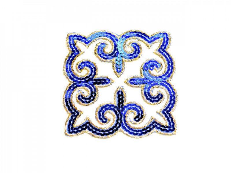 applicatie pailletten blauw