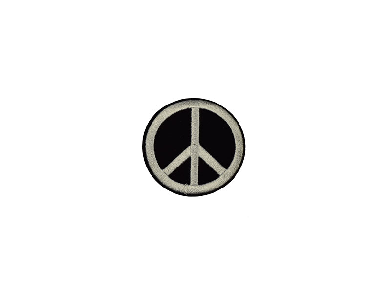 applicatie peace zwart fluweel wit