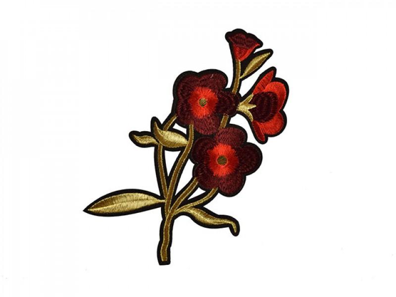 applicatie rode bloem met gouden steel