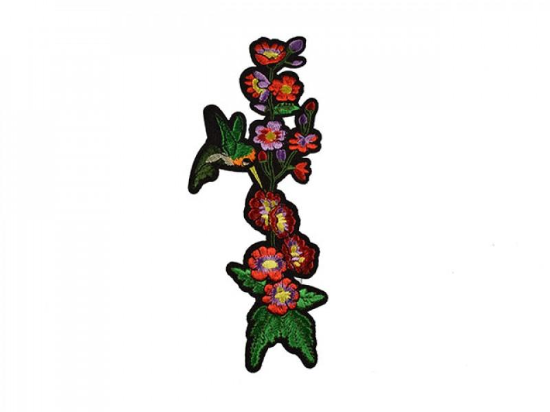 applicatie rode bloemen met kolibri