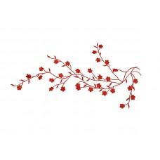 Applicatie rode bloesem op tak extra large (42 x 16 cm)