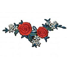Applicatie rode roos witte bloemen large