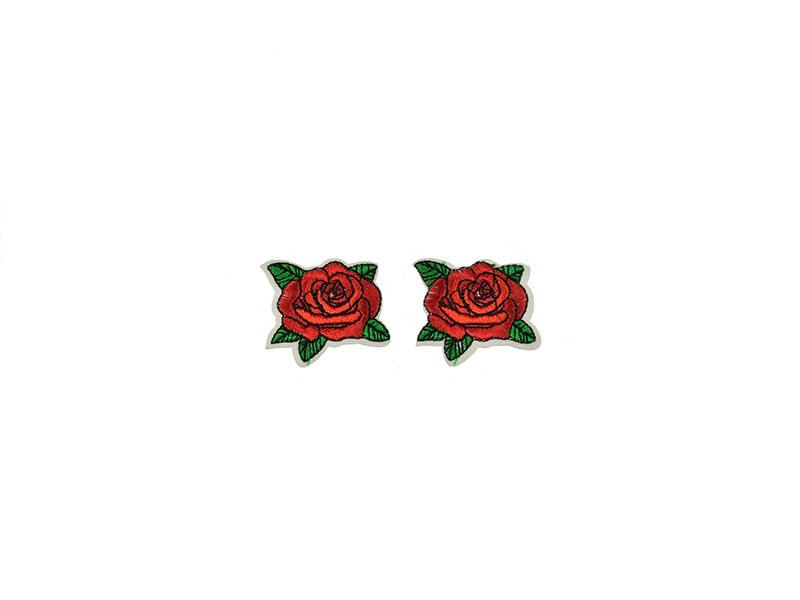 applicatie roos rood 2 stuks