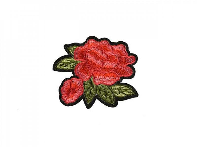 applicatie roos rood groen blad