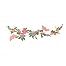 applicatie roze blauwe bloemen en vlinders