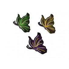 applicatie set geborduurde vlinders 3 stuks