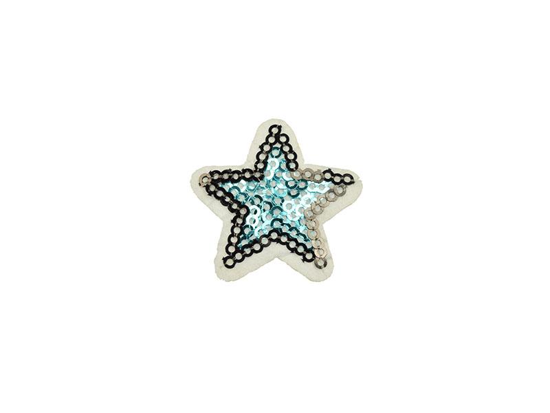 applicatie ster blauw zwart pailletten 4 cm