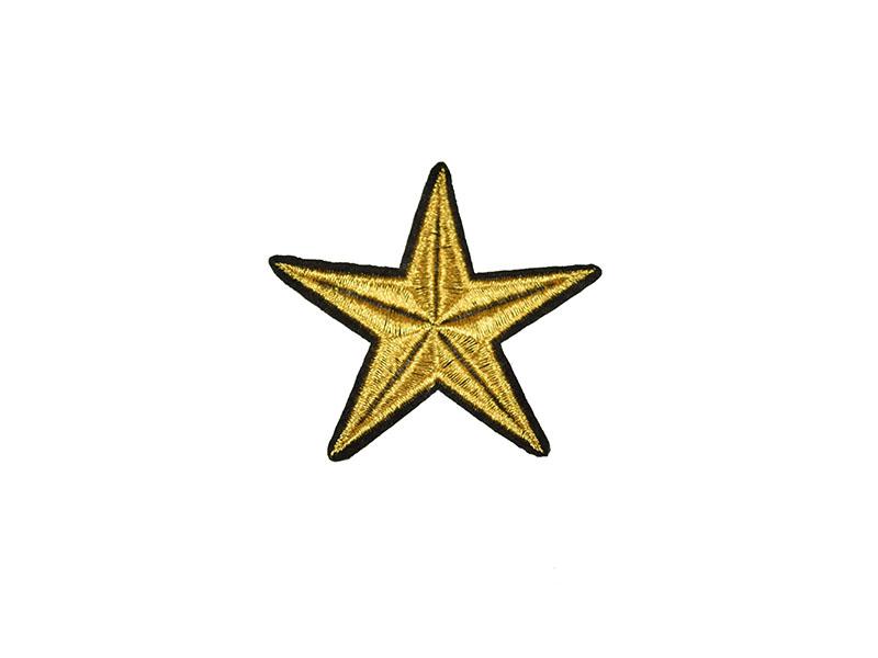 applicatie ster goud  zwart 7 cm