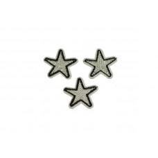 applicatie ster zilver zwart 3 cm 3 stuks
